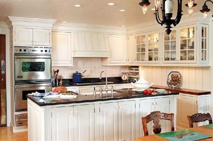 Impala Black Granite Works Best With: White Cabinets/ Furnishing.  ImpalaBlackWhiteCabinets
